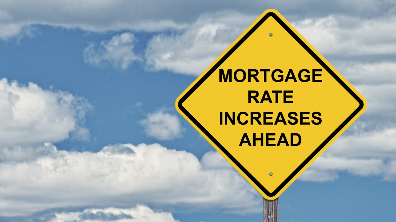 Caution Sign Sky Background - Mortgage Rate Increases Ahead